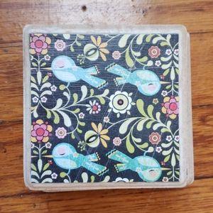 Set of 4 Boho Bird & Floral Coasters